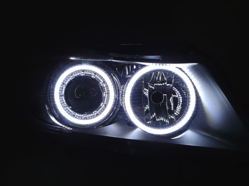 Depo P90 V2 06 08 Bmw E90 E91 Uhp Led Angel Halo Headlight