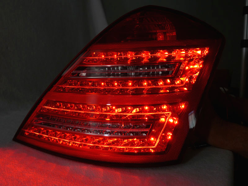 Depo facelift look 07 09 mercedes benz w221 s class red for Led light for mercedes benz
