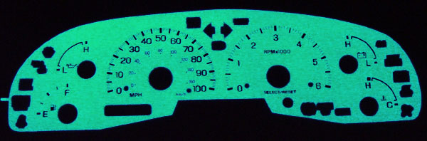 99~02 LINCOLN NAVIGATOR WHITE BLUE/GREEN Glow Gauges 00