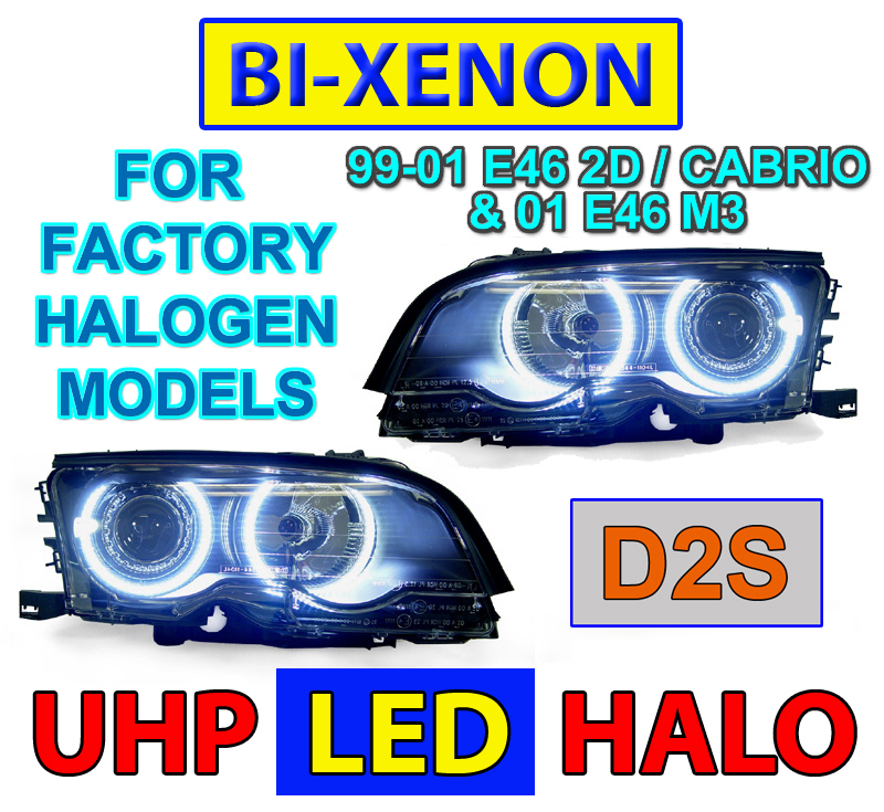 4 halogen models depo 99 01 bmw e46 2d cabrio led angel bi xenon d2s headlights. Black Bedroom Furniture Sets. Home Design Ideas