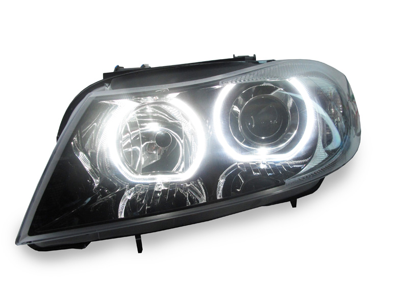 06 08 bmw e90 e91 halogen f30 style v3 led u ring angel eye projector headlights ebay. Black Bedroom Furniture Sets. Home Design Ideas