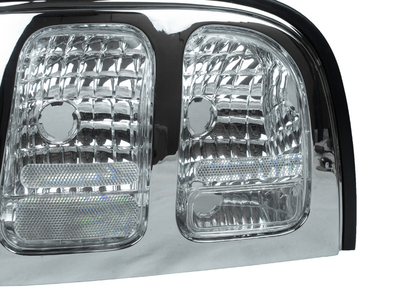 new depo 94 98 ford mustang chrome all clear tail light v6 gt cobra pair ebay. Black Bedroom Furniture Sets. Home Design Ideas
