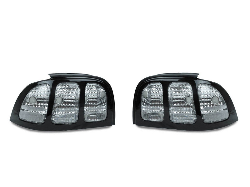 new depo 94 98 ford mustang black all clear tail light v6 gt cobra pair ebay. Black Bedroom Furniture Sets. Home Design Ideas