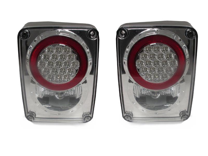 Jeep Tail Light Lenses : Depo  jeep wrangler jk chrome clear lens led tail
