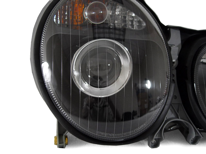 Depo 96 99 mercedes benz w210 e class projector black for Mercedes benz headlight lens