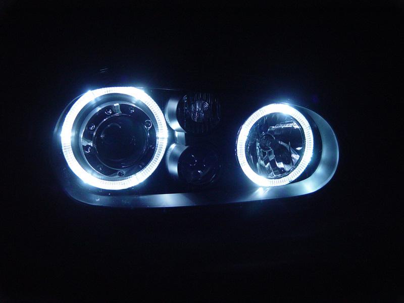 99 04 VW Golf GTI MK4 White LED Angel Eyes Glass Lens Black Projector Headlights