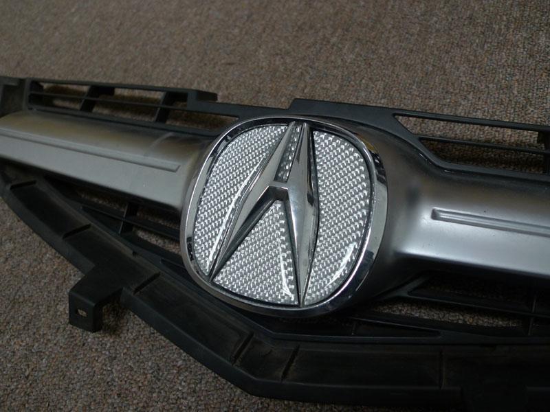 Unique Style RacingFeelerReal CarbonRed A Emblem Grill Trunk - Acura emblem black